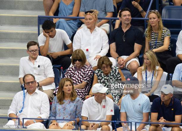 Oscar Jackman Deborra Lee Furness Hugh Jackman Mirka Federer and Anna Wintour attend Day 2 of the US Open tennis held at the USTA Tennis Center on...