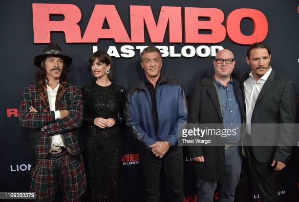 Oscar Jaenada Paz Vega Sylvester Stallone Adrian Grunburg and Serio PerisMenchets attend the Rambo Last Blood Screening Fan Event at AMC Lincoln...