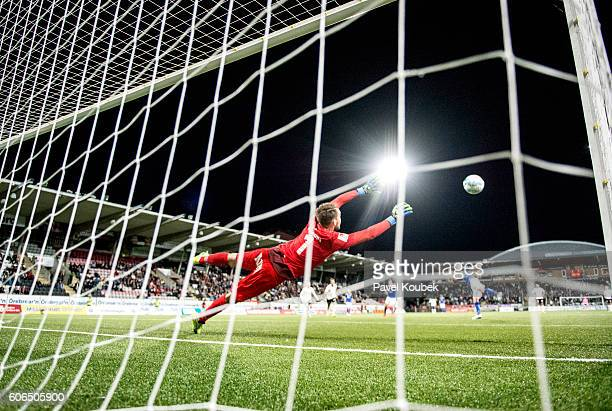 Oscar Jansson goalkeeper of Orebro SK is unable to save the penalty shot from Lars Krogh Gerson of GIF Sundsvall during the Allsvenskan match between...
