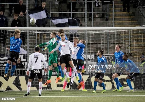 Oscar Jansson, goalkeeper of Orebro SK joins in on the last corner kick during the Allsvenskan match between Orebro SK and Halmstad BK at Behrn Arena...