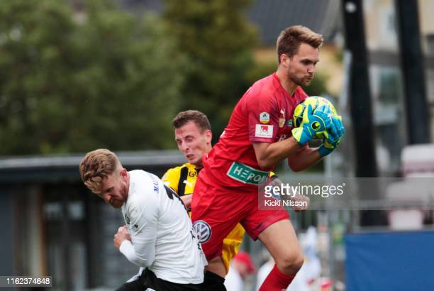 Oscar Jansson of Orebro SK makes a save during the Allsvenskan match between Orebro SK and BK Hacken at Behrn Arena on August 18, 2019 in Orebro,...