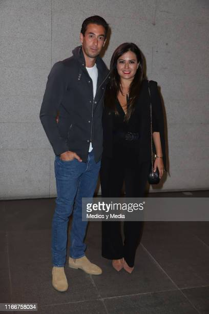 Oscar Jimenez and Mariana Echeverria poses for photos during the red carpet of Circo Ventura by Atayde Hermanos at Arena Ciudad de Mexico on August 7...