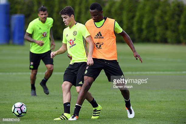 Oscar John Obi Mikel during a Chelsea training session at Chelsea Training Ground on July 12 2016 in Cobham England