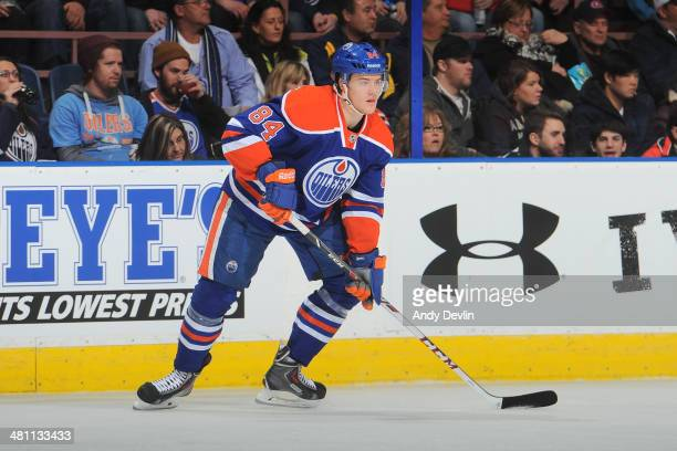 Oscar Kelfbom of the Edmonton Oilers skates on the ice in a game against the Buffalo Sabres on March 20 2014 at Rexall Place in Edmonton Alberta...