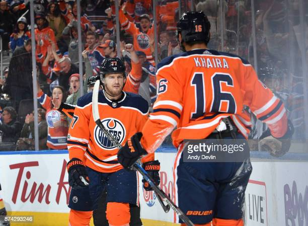 Oscar Klefbom and Jujhar Khaira of the Edmonton Oilers celebrate after a goal during the game against the Vegas Golden Knights on November 14 2017 at...