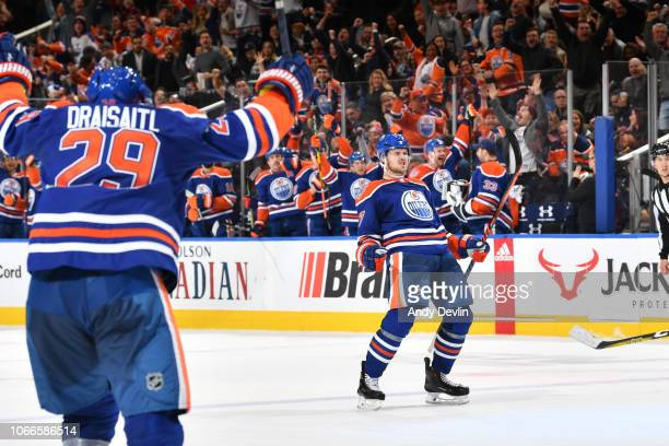 Oscar Klefbom and Leon Draisaitl of the Edmonton Oilers celebrates after scoring a goal during the game against the Los Angeles Kings on November 29,...