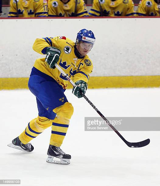 Oscar Klefbom of Team Sweden skates against Team Finland at the USA hockey junior evaluation camp at the Lake Placid Olympic Center on August 7 2012...