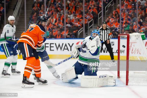 Oscar Klefbom of the Edmonton Oilers can't get past goaltender Jacob Markstrom of the Vancouver Canucks during the second period at Rogers Place on...
