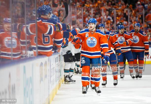 Oscar Klefbom of the Edmonton Oilers celebrates a goal against the San Jose Sharks in Game One of the Western Conference First Round during the 2017...