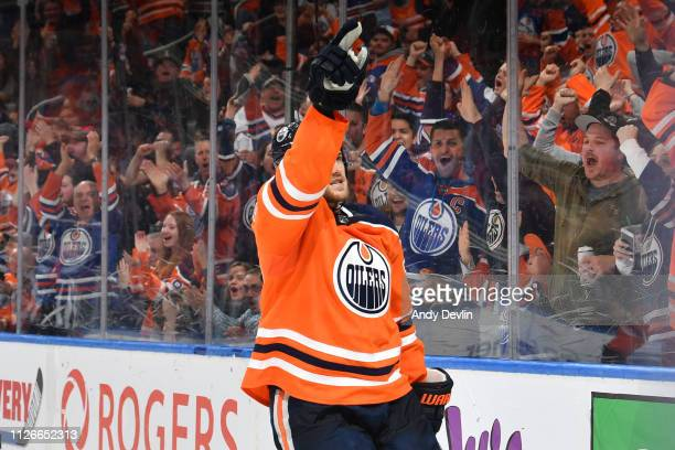 Oscar Klefbom of the Edmonton Oilers celebrates after scoring a goal during the game against the New York Islanders on February 21 2019 at Rogers...