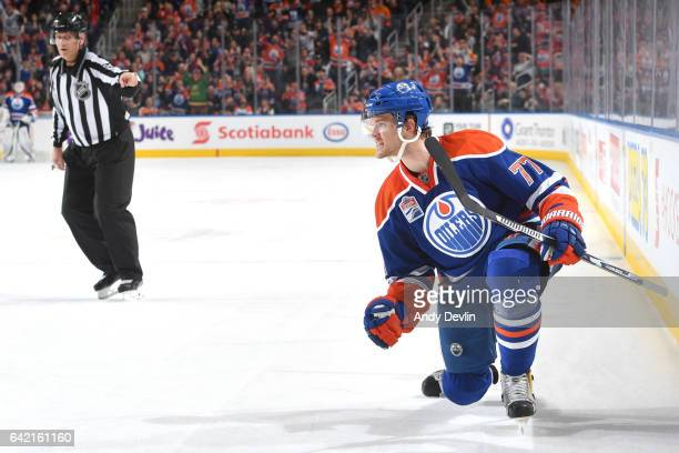Oscar Klefbom of the Edmonton Oilers celebrates after scoring a goal during the game against the Philadelphia Flyers on February 16 2017 at Rogers...