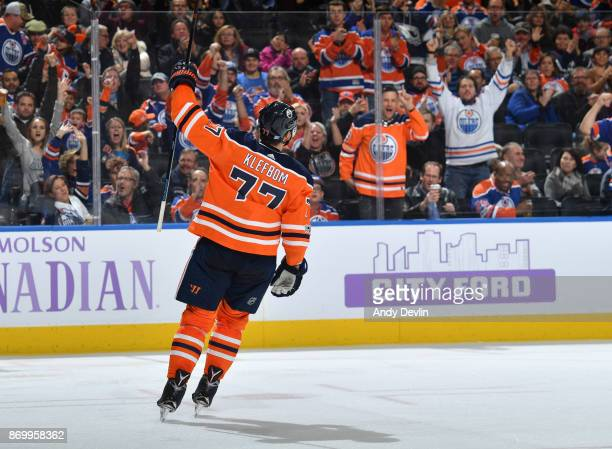 Oscar Klefbom of the Edmonton Oilers celebrates after scoring a goal during the game against the New Jersey Devils on November 3 2017 at Rogers Place...