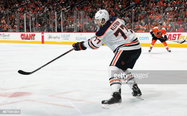 Oscar Klefbom of the Edmonton Oilers completes a pass against the Philadelphia Flyers on October 21 2017 at the Wells Fargo Center in Philadelphia...