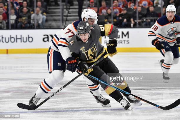 Oscar Klefbom of the Edmonton Oilers defends Jonathan Marchessault of the Vegas Golden Knights during the game at TMobile Arena on February 15 2018...