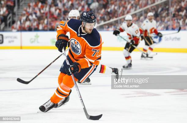 Oscar Klefbom of the Edmonton Oilers skates against the Calgary Flames at Rogers Place on October 4 2017 in Edmonton Canada
