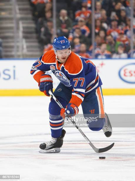 Oscar Klefbom of the Edmonton Oilers skates against the Vancouver Canucks on April 9 2017 at Rogers Place in Edmonton Alberta Canada