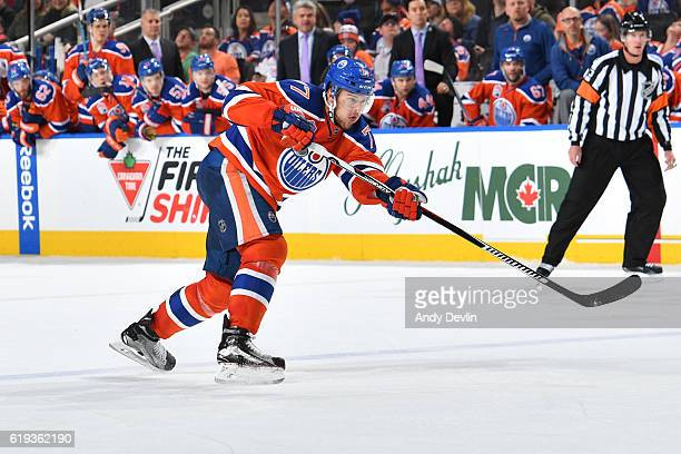 Oscar Klefbom of the Edmonton Oilers skates during the game against the Ottawa Senators on October 30 2016 at Rogers Place in Edmonton Alberta Canada