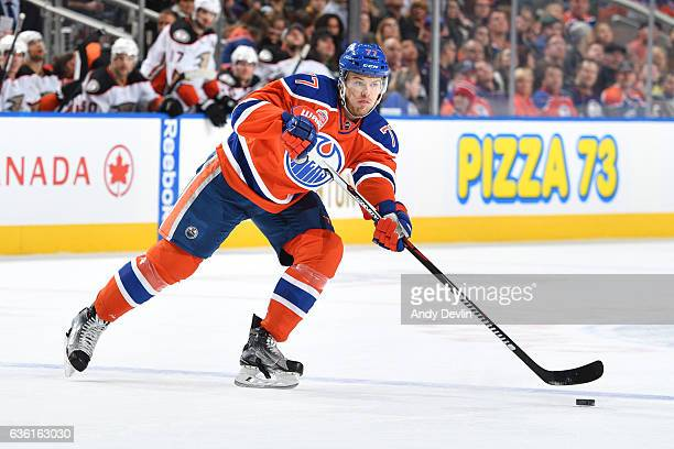Oscar Klefbom of the Edmonton Oilers skates during the game against the Anaheim Ducks on December 3 2016 at Rogers Place in Edmonton Alberta Canada