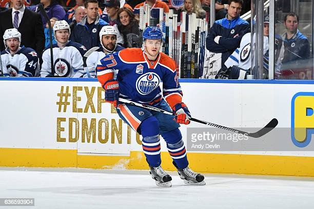 Oscar Klefbom of the Edmonton Oilers skates during the game against the Winnipeg Jets on December 11 2016 at Rogers Place in Edmonton Alberta Canada