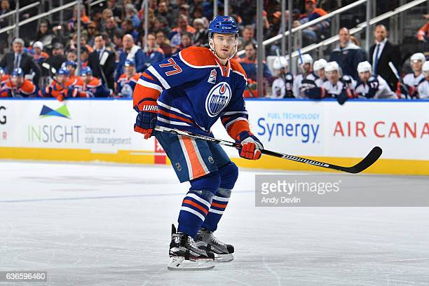 Oscar Klefbom of the Edmonton Oilers skates during the game against the Columbus Blue Jackets on December 13 2016 at Rogers Place in Edmonton Alberta...
