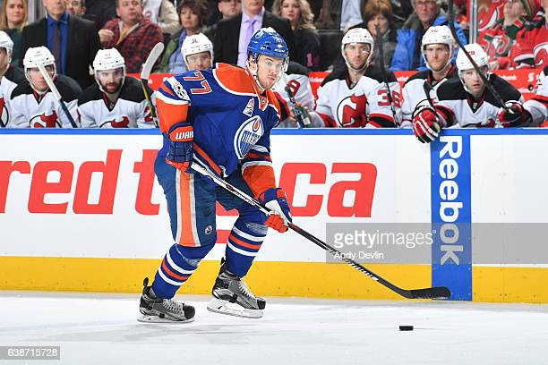 Oscar Klefbom of the Edmonton Oilers skates during the game against the New Jersey Devils on January 12 2017 at Rogers Place in Edmonton Alberta...