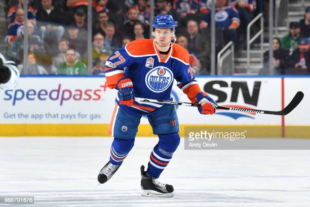 Oscar Klefbom of the Edmonton Oilers skates during the game against the Dallas Stars on March 14 2017 at Rogers Place in Edmonton Alberta Canada
