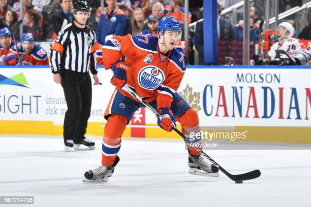 Oscar Klefbom of the Edmonton Oilers skates during the game against the Chicago Blackhawks on February 11 2017 at Rogers Place in Edmonton Alberta...