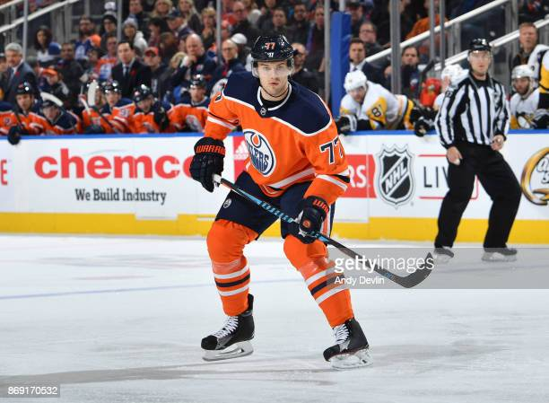 Oscar Klefbom of the Edmonton Oilers skates during the game against the Pittsburgh Penguins on November 1 2017 at Rogers Place in Edmonton Alberta...