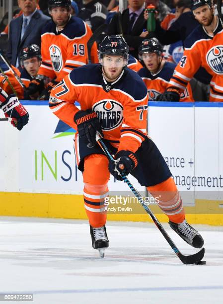 Oscar Klefbom of the Edmonton Oilers skates during the game against the Washington Capitals on October 28 2017 at Rogers Place in Edmonton Alberta...