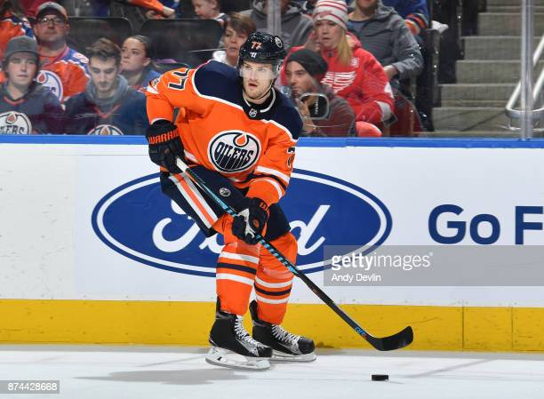 Oscar Klefbom of the Edmonton Oilers skates during the game against the Detroit Red Wings on November 5 2017 at Rogers Place in Edmonton Alberta...
