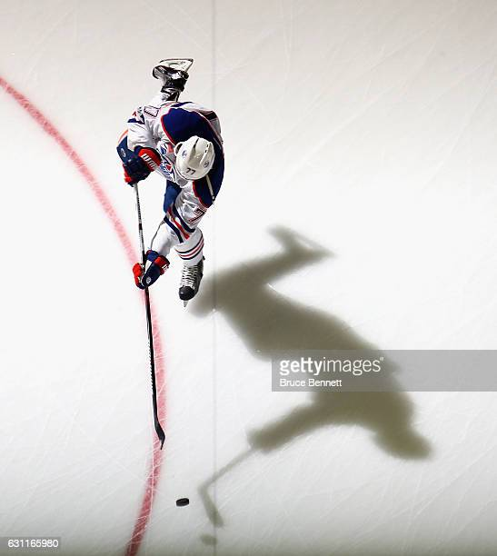 Oscar Klefbom of the Edmonton Oilers skates in warmups prior to the game against the New Jersey Devils at the Prudential Center on January 7 2017 in...