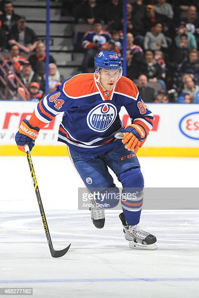 Oscar Klefbom of the Edmonton Oilers skates on the ice during the game against the Anaheim Ducks on February 21 2015 at Rexall Place in Edmonton...