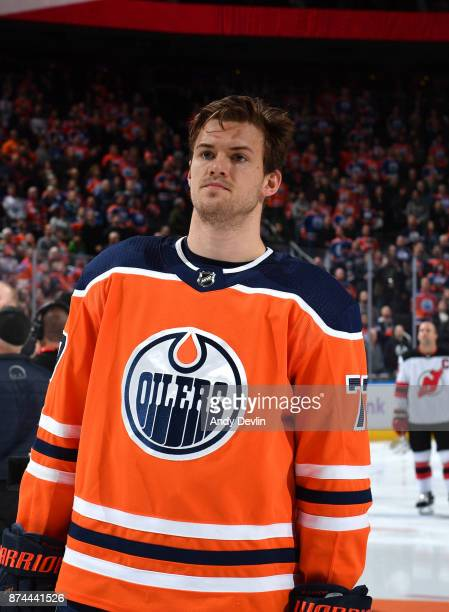Oscar Klefbom of the Edmonton Oilers stands for the singing of the national anthem prior to the game against the New Jersey Devils on November 3 2017...