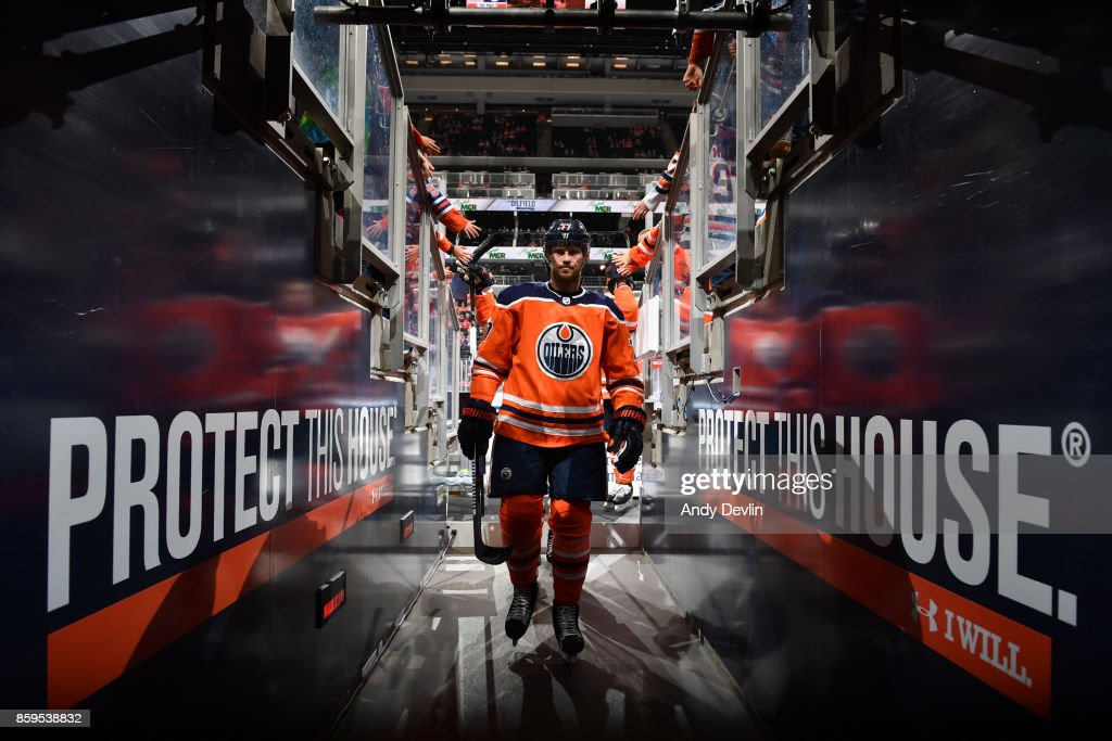 Oscar Klefbom #77 of the Edmonton Oilers walks to the dressing prior to the game against the Winnipeg Jets on October 9, 2017 at Rogers Place in Edmonton, Alberta, Canada.