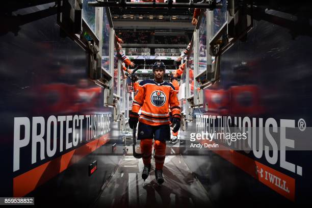 Oscar Klefbom of the Edmonton Oilers walks to the dressing prior to the game against the Winnipeg Jets on October 9 2017 at Rogers Place in Edmonton...