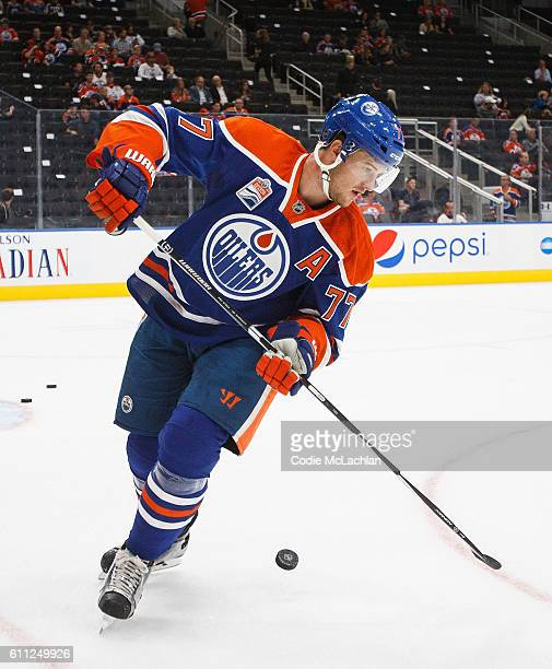 Oscar Klefbom of the Edmonton Oilers warms up against the Calgary Flames on September 26 2016 at Rogers Place in Edmonton Alberta Canada