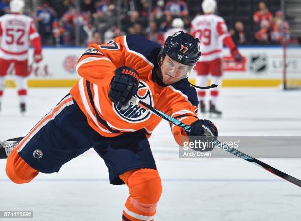 Oscar Klefbom of the Edmonton Oilers warms up prior to the game against the Detroit Red Wings on November 5 2017 at Rogers Place in Edmonton Alberta...