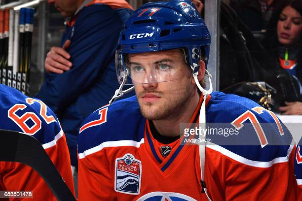 Oscar Klefbom of the Edmonton Oilers watches from the bench prior to the game against the Detroit Red Wings on March 4 2017 at Rogers Place in...