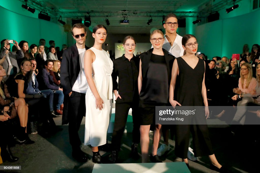 Oscar Lauterbach, Isabella Ahrens, Enya Elstner, Milana Bruges von Pfuel, Tyger Lobinger and Lucia Strunz during the Rodenstock Eyewear Show on January 12, 2018 in Munich, Germany.