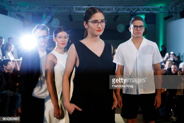 Oscar Lauterbach Isabella Ahrens Lucia Strunz and Tyger Lobinger during the Rodenstock Eyewear Show on January 12 2018 in Munich Germany
