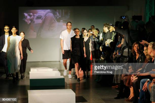 Oscar Lauterbach Isabella Ahrens Tyger Lobinger Milana Bruges von Pfuel and Lucia Strunz during the Rodenstock Eyewear Show on January 12 2018 in...