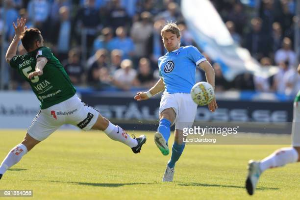 Oscar Lewicki of Malmo FF during the Allsvenskan match between Jonkopings Sodra IF and Malmo FF at Stadsparksvallen on June 3 2017 in Jonkoping Sweden