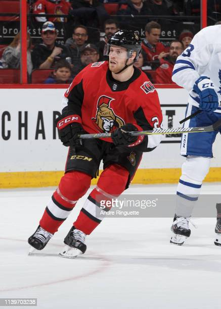 Oscar Lindberg of the Ottawa Senators skates against the Toronto Maple Leafs at Canadian Tire Centre on March 30 2019 in Ottawa Ontario Canada