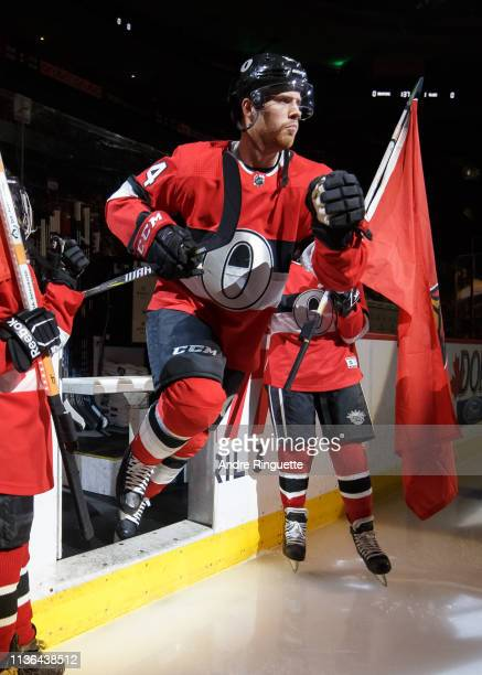 Oscar Lindberg of the Ottawa Senators steps onto the ice during player introductions prior to a game against the St Louis Blues at Canadian Tire...