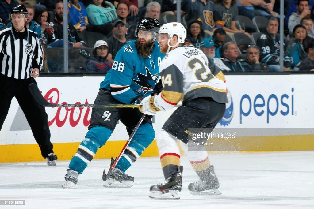 Oscar Lindberg #24 of the Vegas Golden Knights defends Brent Burns #88 of the San Jose Sharks at SAP Center on February 8, 2018 in San Jose, California.