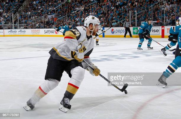 Oscar Lindberg of the Vegas Golden Knights skate with the puck against the San Jose Sharks in Game Six of the Western Conference Second Round during...