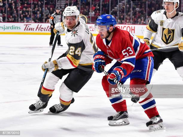 Oscar Lindberg of the Vegas Golden Knights skates against Victor Mete of the Montreal Canadiens during the NHL game at the Bell Centre on November 7...
