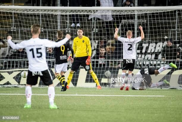 Oscar Linner goalkeeper of AIK is dejected as of Orebro SK reduces to 12 during the Allsvenskan match between Orebro SK AIK at Behrn Arena on...