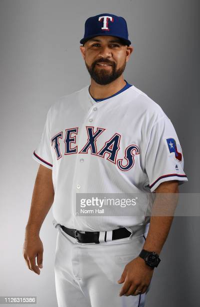 Oscar Marin of the Texas Rangers poses for a portrait on photo day at Surprise Stadium on February 20 2019 in Surprise Arizona
