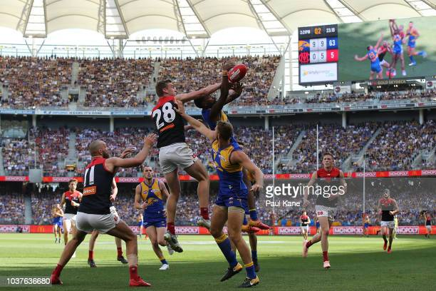 Oscar McDonald of the Demons and Liam Ryan of the Eagles contest for a mark during the AFL Preliminary Final match between the West Coast Eagles and...